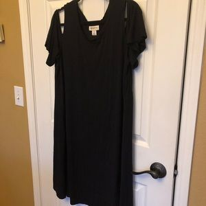 Style & Co. Black Cold Shoulder Midi Dress, 2XL